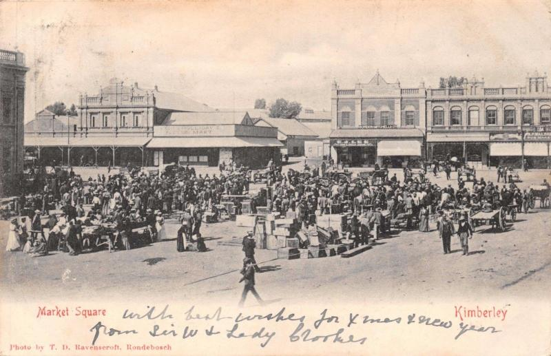 KIMBERLEY SOUTH AFRICA~MARKET SQUARE~T.D. RAVENSCROFT PHOTO POSTCARD c1905
