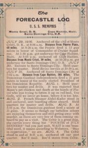 U S S Memphis Forecastle Log 29 July 1916