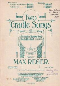 Max Reger Two Cradle Songs Virgins Slumber Golden Bird Olde Sheet Music