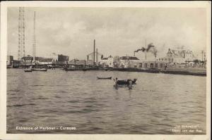 curacao, D.W.I., WILLEMSTAD, Entrance of Harbour (1930s) RPPC