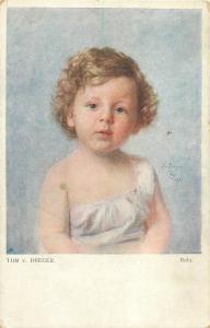 Vintage 1918 artist postcard Tom v. Dreger - Bubi girl