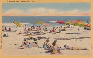 New Jersey Ocean Grove Greetings With Beach Scene Curteich