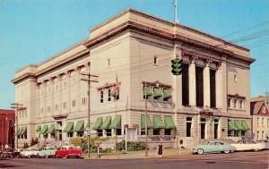 Huntington WV City Hall~Green Awnings & Traffic Light~1950s Cars Postcard