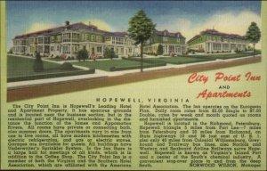 Hopewell VA City Point Inn & Apts Linen Postcard