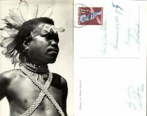 dutch new guinea, Young Native Papua Boy with Feathers (1962) RPPC Stamp