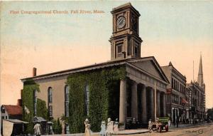 25764 MA, Fall River, 1910, First Congregational Church, car and ladies walki...