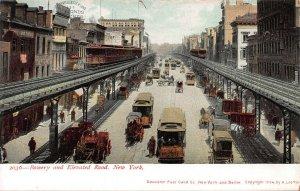 Bowery & Elevated Road, Manhattan, N.Y.C., 1904 Train Postcard, Unused