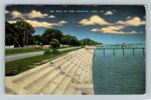 Pass Christian MS-Mississippi, 26-Mile Sea Wall, Harrison County Linen Postcard