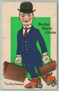 Traveling Salesman Lovin' The Roller Skate Craze~Rolls With Suitcase~Blue Suit