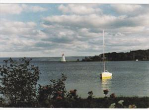 Lighthouse, Sailboat, Baddeck Bay, CAPE BRETON, Nova Scotia, Canada, 1950-1970s