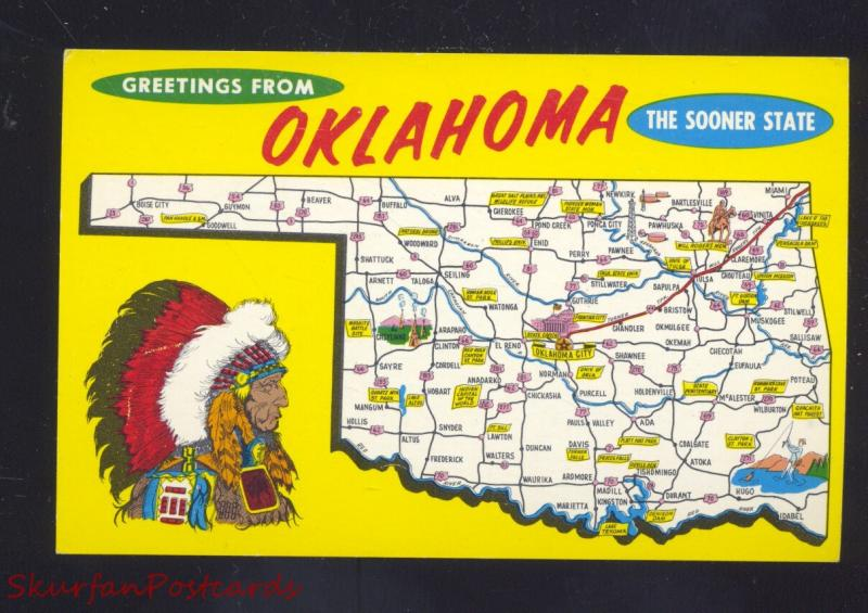 STATE OF OKLAHOMA MAP VINTAGE POSTCARD ROUTE 66 / HipPostcard