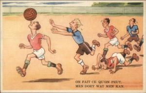 Soccer Football Comic - Man Running Balancing Ball on Nose Postcard