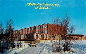 Anchorage Alaska~Methodist University~Gould (Grant?) Hall~Winter View~1960s Auto