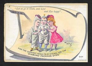 VICTORIAN TRADE CARD Diamond Dyes Clown & Ladies