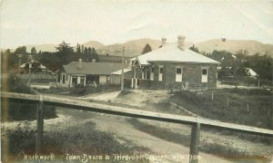 1913 Warkworth New Zealand Town Board Offices RPPC Photo Postcard 10986