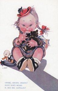 Artish L Mart ; Girl holding Teddy Bear , 1910-20s