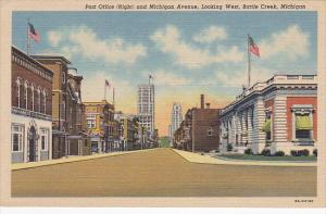 Post Office (Right) And Michigan Avenue, Looking West, BATTLE CREEK, Michigan...