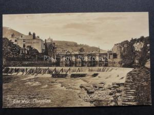 Llangollen: The Weir & River showing The Royal Hotel - Old Postcard