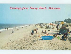 Pre-1980 BEACH SCENE Dewey Beach - Near Rehoboth Beach Delaware DE AE9348