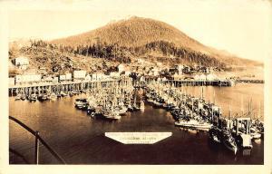 Ketchikan AK Thomas Basin & Trolling Fleet RPPC Postcard