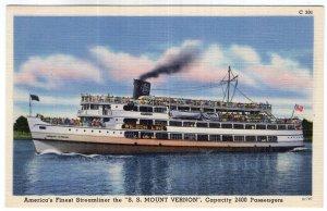 America's Finest Streamliner the S. S. Mount Vernon