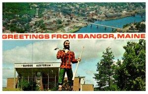 Maine Bangor , greetings, Aerial view , Paul Bunyan