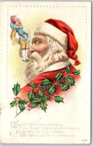 Vintage Christmas Embossed Postcard SANTA CLAUS Red Suit Jester Doll 1915 Cancel