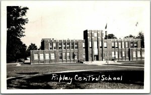 RIPLEY, New York RPPC Real Photo Postcard Ripley Central School Building View