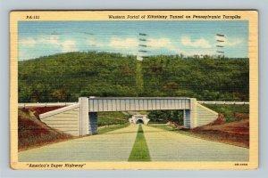 Western Portal Of Kittatinny Tunnel, Turnpike Linen Pennsylvania c1943 Postcard