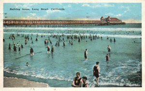 Vintage Postcard 1922 Bathing Scene Long Beach CA California