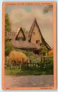 BEVERLY HILLS, CA California  Charming STORYBOOK COTTAGE  1949 Linen Postcard
