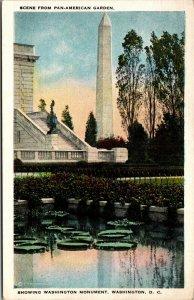 Vtg 1920s Washington Monument from Pan American Garden Washington DC Postcard