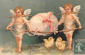 Embossed Happy Easter Heureuses Paques Cupid Angels Cherubs Egg Chicken Chicks