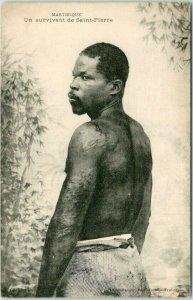 Vintage MARTINIQUE Caribbean Postcard Un Survivant de Saint-Pierre c1910s