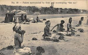 Fakirs Surrounded by Fires Praying Islam Religions Antique Postcard (J26380)
