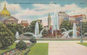 Pennsylvania Philadelphia Logan Circle Fountain And Philadelphia Skyline 1947