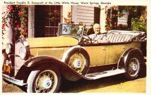 Warm Springs, GA, President FDR at Little White House, Vintage Postcard h3510