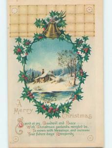 1919 Santa Claus ON RED CROSS CHRISTMAS SEAL STAMP ON BACK OF POSTCARD hk9219