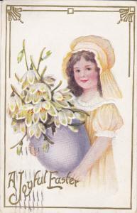 EASTER; Joyful, Girl wearing bonnet carrying vase of flowers, Gold detail, ...