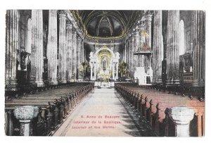 Canada Quebec Basilica Ste Anne de Beaupre Church Nave Interior Vintage Postcard