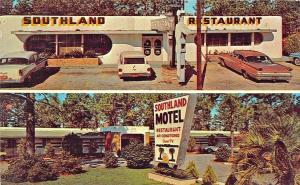 Walterboro SC Southland Motel & Drive-In Restaurant Old Cars Postcard