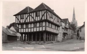 THAXTED ESSEX UK-GUILDHALL~STREET VIEW TO CHURCH~REAL PHOTO POSTCARD