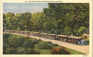 Tourist Tram Train on Inlet Trail - Cedar Point, Ohio - Linen