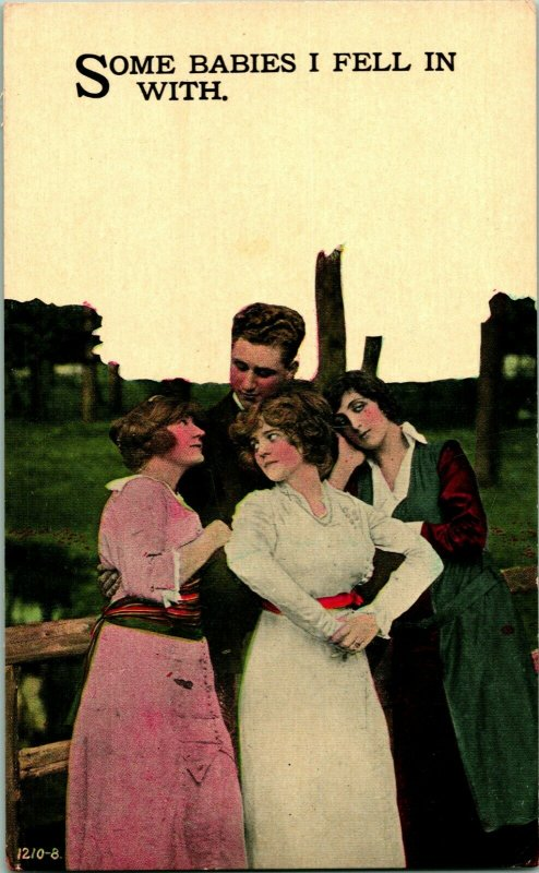 Vtg 1900s Postcard - Romance Risque - Some Babies I Fell In With UNP