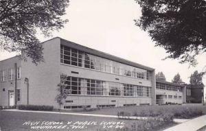 Wisconsin Waunakee High School & Public School Real Photo RPPC