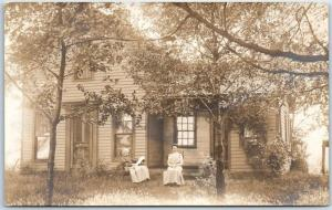 1910s RPPC Real Photo Postcard Mother & Daughter Rocking Chair Front of House