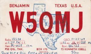 QSL Radio Postcard , BENJAMIN , Texas , PU-1949