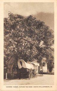 Williamsburg Virginia 1941 Postcard Covered Wagon Outside Deane Smithy