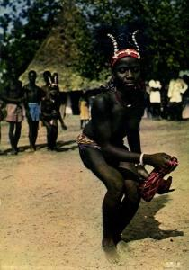 Nude African Woman Dancing with a Scarf (1970s) IRIS Postcard