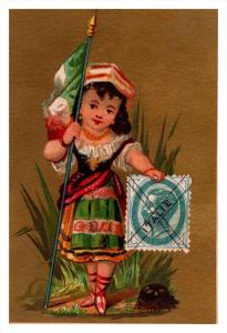 Italy Stamp, Flag, Girl   Victorian Philatelic Trade Card